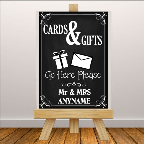 Personalised Vintage Wedding Cards & Gifts Sign Poster Banner - Chalkboard Style Print N114